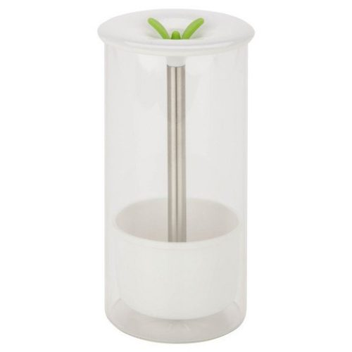 Glass Herb Preserver, White & Clear