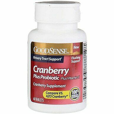 Good Sense 1902121 Cranberry Plus Probiotic & Vitamin C Supplement Tablet, 60 Count