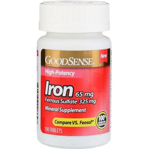 Good Sense 1902393 65 mg Iron Mineral Supplement Tablets, 100 Count