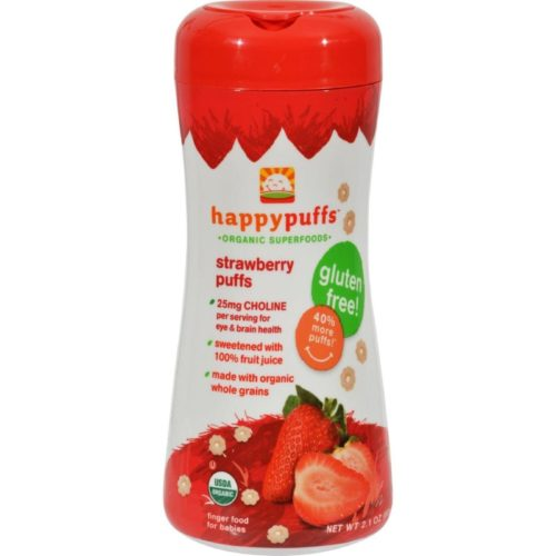 HG0554469 2.1 oz Happy Bites Organic Puffs Finger Food for Babies - Strawberry Puffs, Case of 6