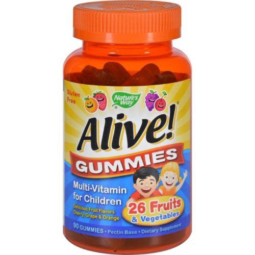 HG1131275 Alive Gummies Multi-Vitamin for Children Natural Cherry, Grape & Orange - 90 Gummies