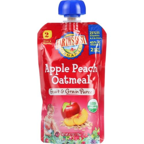 HG1154848 4.2 oz Organic Fruit & Grain Puree Baby Food for Age 6 Months Plus, Stage 2 -Apple Peach Oatmeal, Case of 12