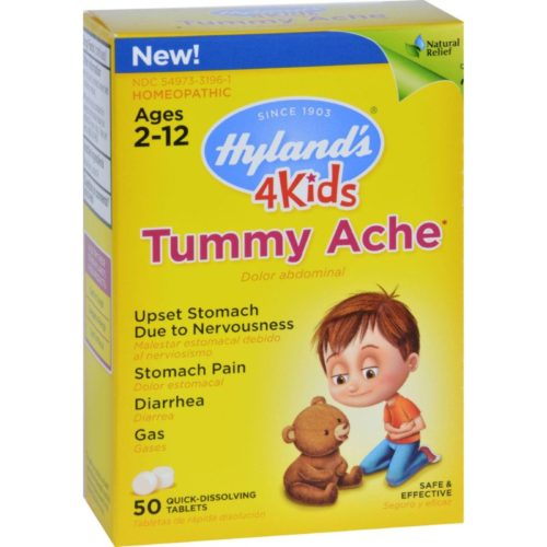 HG1637347 Homeopathic Tummy Ache, 4 Kids - 50 Quick-dissolving Tablets