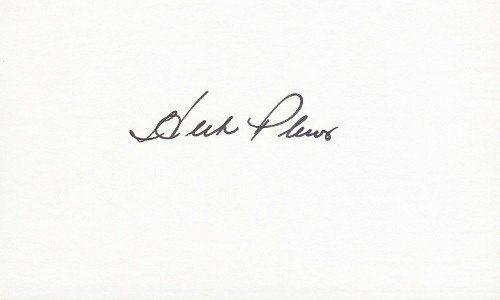 HPlews3x5-1 Herb Plews Signed - Autographed Washington Senators 3 x 5 in. Index Card - Deceased 2014