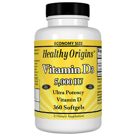 Healthy Origins Vitamin D3, 5000 IU, Softgels - 360.0 ea