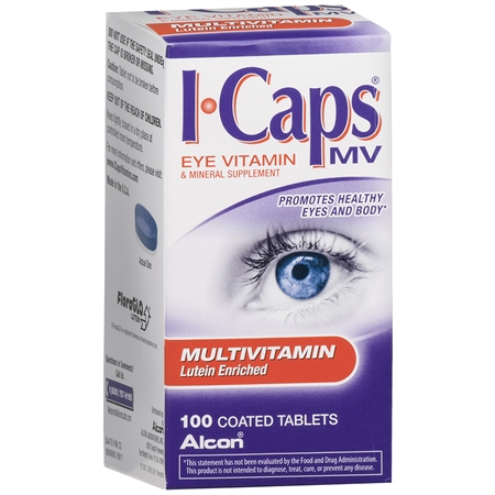 ICaps by Alcon, Lutein Enriched Multivitamin, Coated Tablets - 100.0 ea