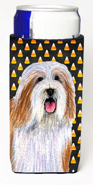 LH9071MUK Bearded Collie Candy Corn Halloween Portrait Michelob Ultra bottle sleeves For Slim Cans - 12 oz.