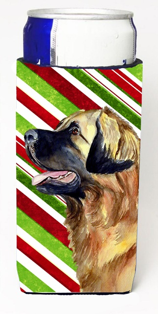LH9258MUK Leonberger Candy Cane Holiday Christmas Michelob Ultra bottle sleeves For Slim Cans - 12 oz.