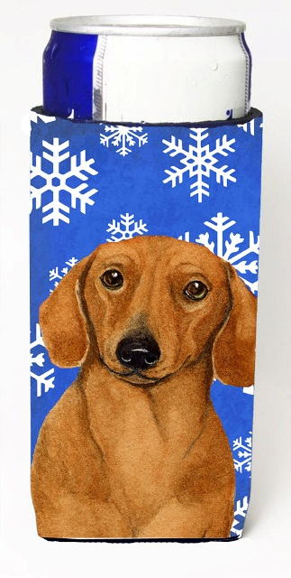 LH9267MUK Dachshund Winter Snowflakes Holiday Michelob Ultra bottle sleeves For Slim Cans - 12 oz.