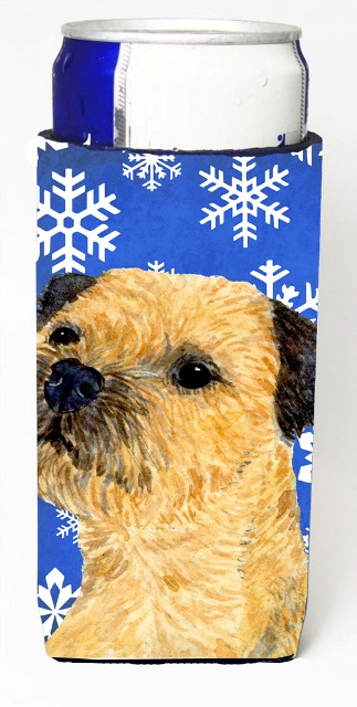 LH9278MUK Border Terrier Winter Snowflakes Holiday Michelob Ultra bottle sleeves For Slim Cans - 12 oz.