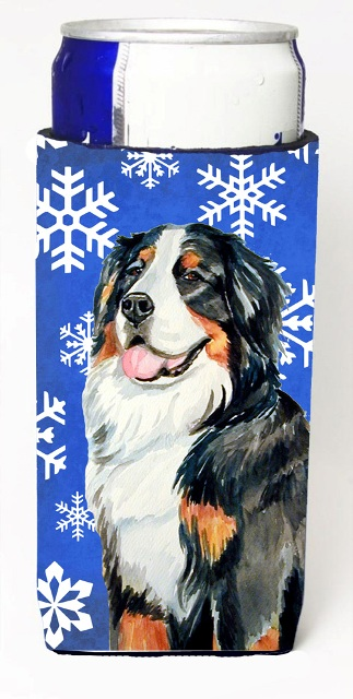 LH9289MUK Bernese Mountain Dog Winter Snowflakes Holiday Michelob Ultra bottle sleeves For Slim Cans - 12 oz.