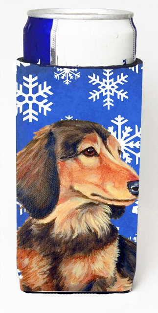 LH9301MUK Dachshund Winter Snowflakes Holiday Michelob Ultra bottle sleeves For Slim Cans - 12 oz.