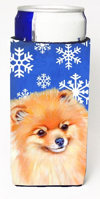 LH9305MUK Pomeranian Winter Snowflakes Holiday Michelob Ultra bottle sleeves For Slim Cans - 12 oz.