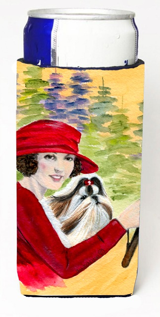 Lady Driving With Her Shih Tzu Michelob Ultra bottle sleeves For Slim Cans - 12 oz.