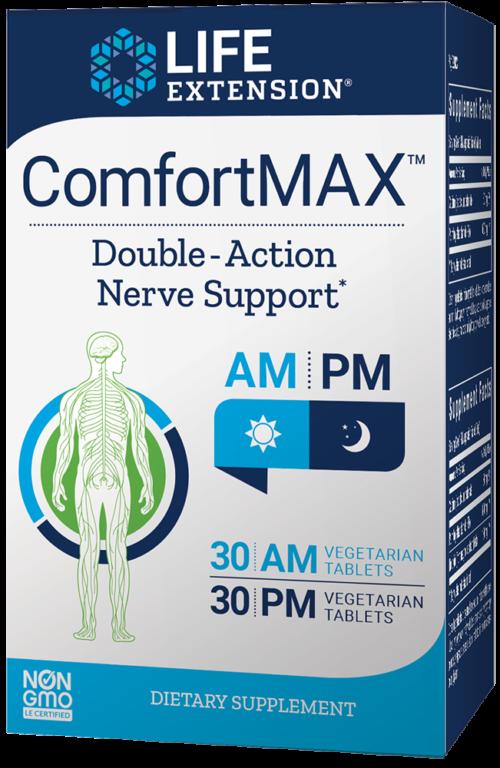 Life Extension ComfortMAX™, 30 AM VeggieT, 30 PM VeggieT (60 Vegetarian Tablets, 30-Day Supply)