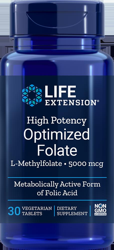 Life Extension High Pot Optimized Folate, 30 VeggieT - 5000 mcg