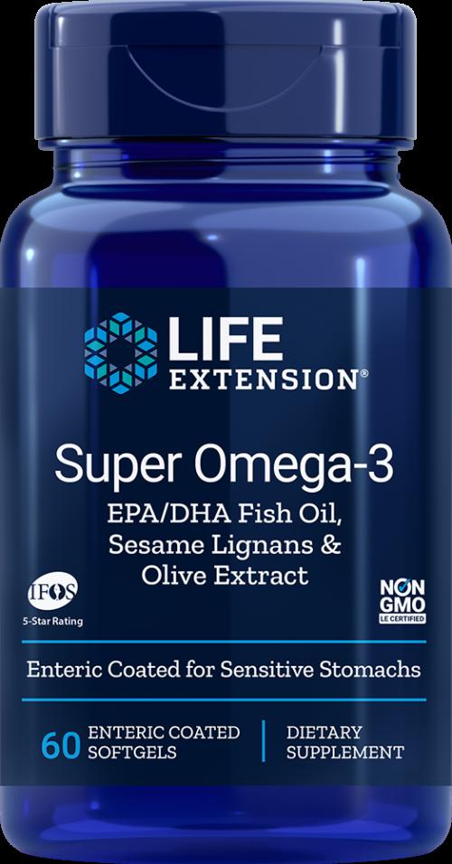 Life Extension Omega3 EPA/DHA Fish Oil wSesa & Olive,60 Ent-CoatS