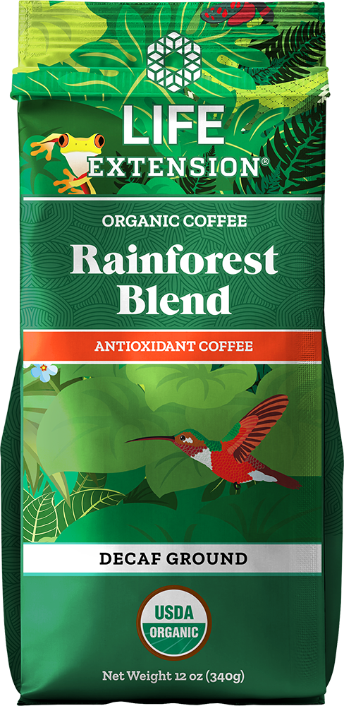Life Extension Rainforest Blend Decaf Ground Coffee, Food, 12 oz