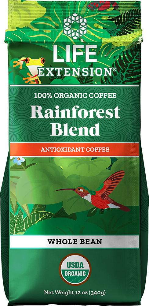 Life Extension Rainforest Blend Whole Bean Coffee, Food, 12 oz