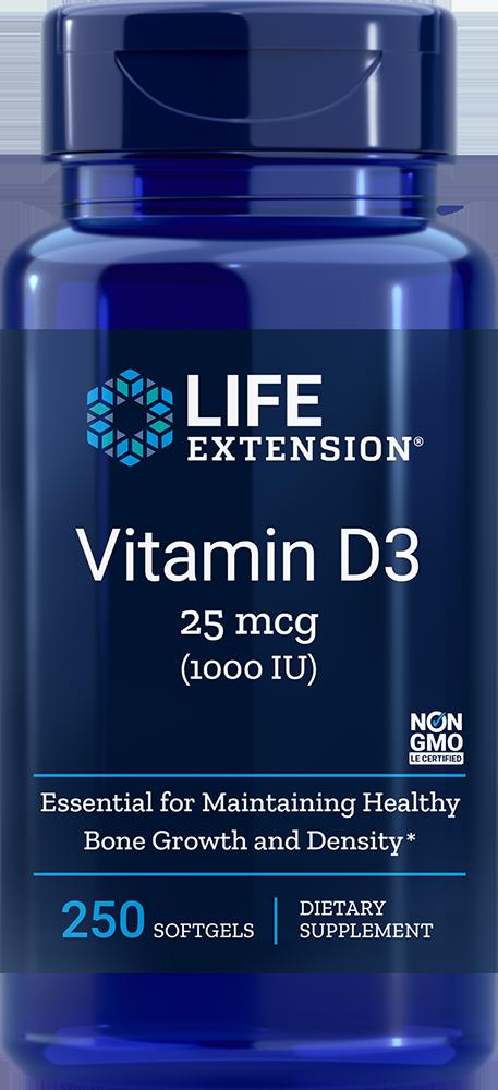 Life Extension Vitamin D3 - 1000 IU (250 Softgels)