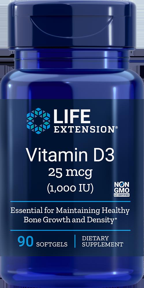 Life Extension Vitamin D3 - 1000 IU (90 Softgels)