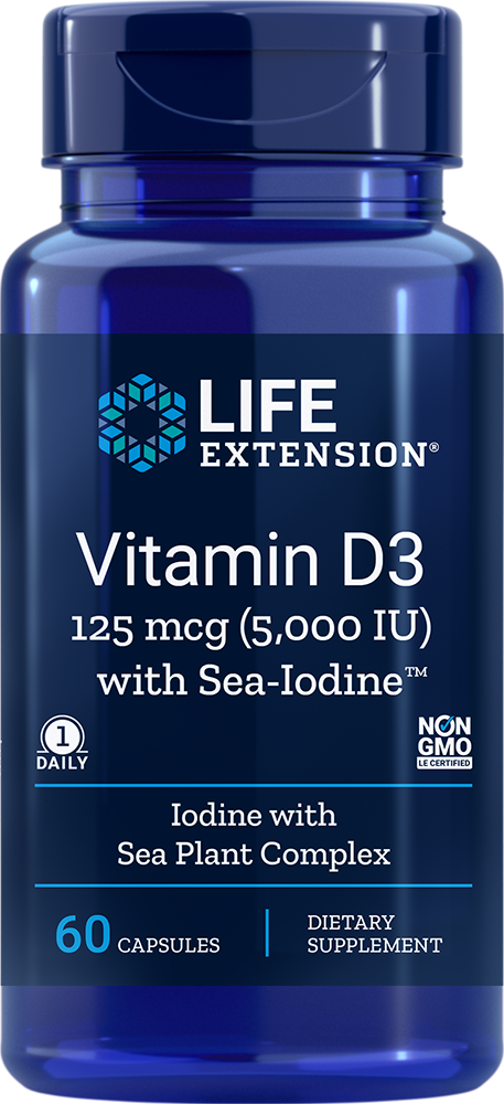 Life Extension Vitamin D3 with Sea-Iodine™ - 5000 IU (60 Capsules)