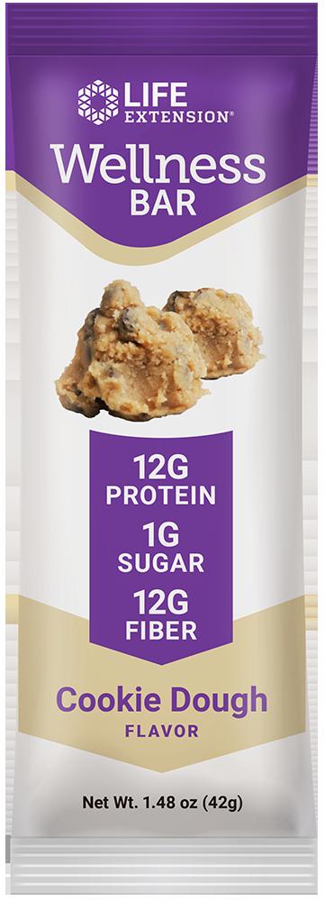 Life Extension Wellness Bar Cookie Dough Flavor, 12 Bars