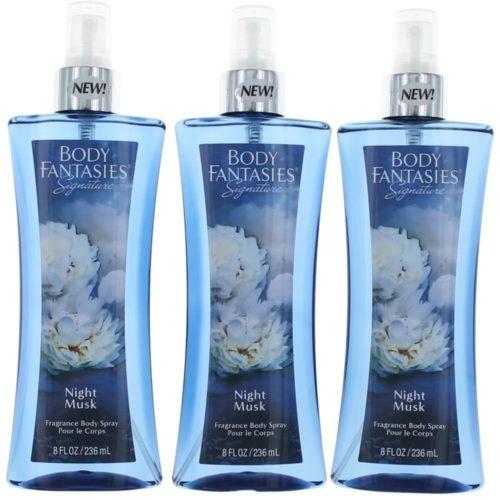 awbfnm8bm3p 8 oz Night Musk by Body Fantasies Fragrance Body Spray for Women, Pack of 3