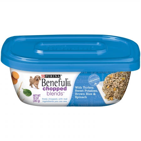 178096 10 oz Beneful Chopped Blends Dog Food with Turkey, Sweet Potatoes, Brown Rice & Spinach, Case of 8