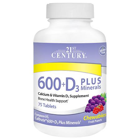 21st Century 600 + D3 Plus Minerals Chewable Tablets - 75.0 ea