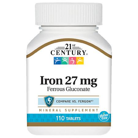 21st Century Iron 27 mg (Ferrous Gluconate) Tablets - 110.0 ea
