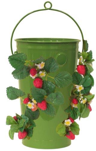 8493E SA 19.5 x 10 in. Enameled Galvanized Strawberry & Flower Planter, Sage