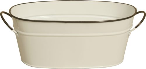 8682-D4 4 in. Pearl White Metal Planter Double Pack of 2