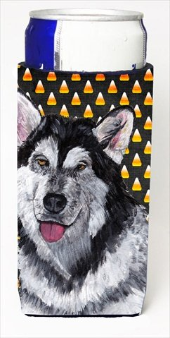 Alaskan Malamute Candy Corn Halloween Michelob Ultra bottle sleeves For Slim Cans - 12 Oz.