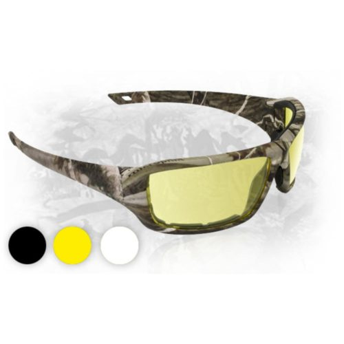 Camo Safety Glasses with Yellow Lens, Dry Forest
