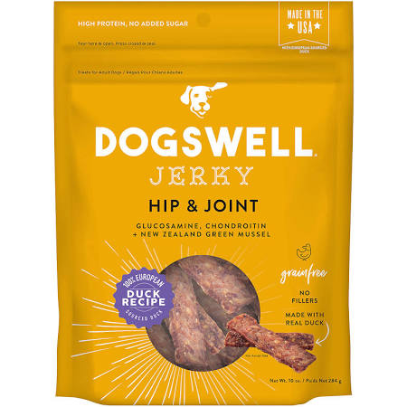 DG29233 10 oz Dogswell Hip & Joint Jerky Grain-Free Duck Recipe for Dogs