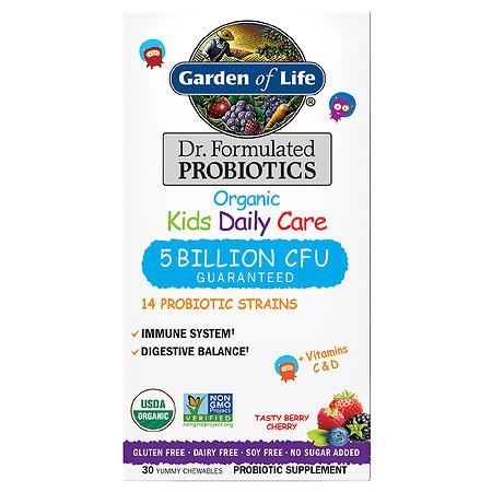 Garden of Life Dr. Formulated Organic Kids Daily Care Probiotic Chewables Tasty Berry Cherry - 30.0 ea