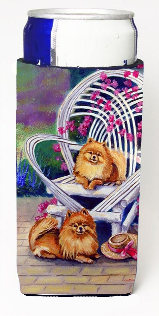 7176MUK Red Pomeranians Michelob Ultra bottle sleeves For Slim Cans - 12 oz.