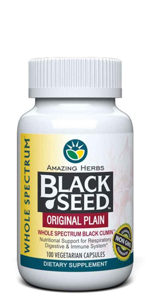 Amazing Herbs Black Seed Original Plain™ - 100 Vegetarian Capsules