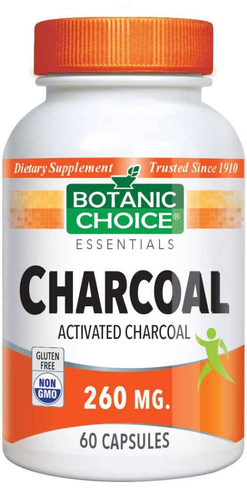 Botanic Choice Activated Charcoal Capsules 260 mg - Digestive Support Supplement - 60 Capsules