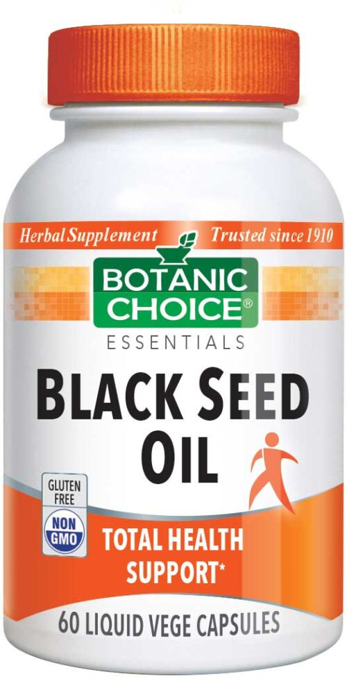 Botanic Choice Black Seed Oil 1000 mg - Essential Fatty Acids Support Supplement - 60 Vegetarian Capsules