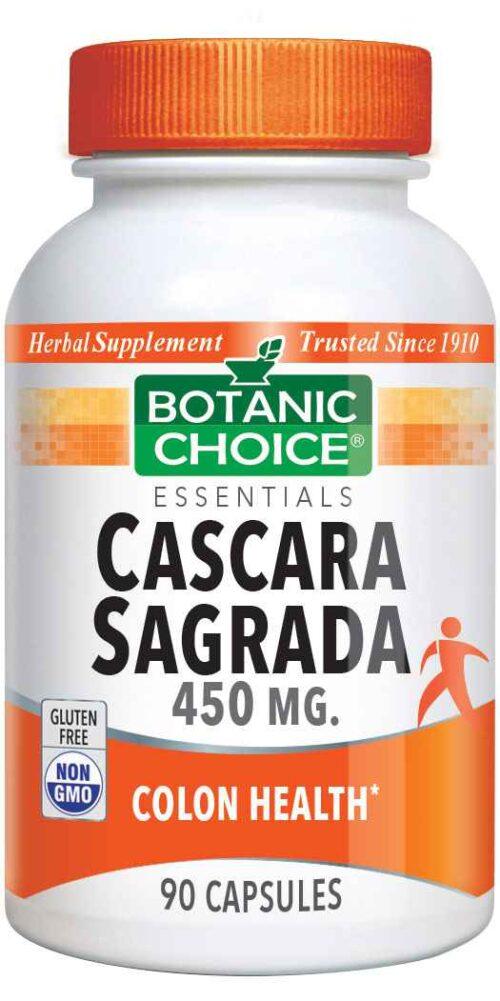 Botanic Choice Cascara Sagrada 450 mg - Digestive Support Supplement - 90 Capsules