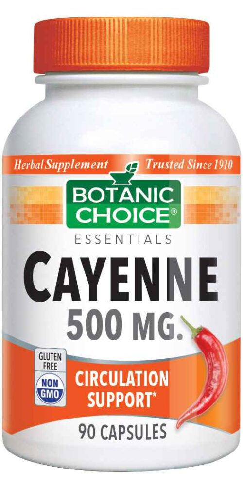 Botanic Choice Cayenne Capsules 500 mg - Circulation Support Supplement - 90 Capsules