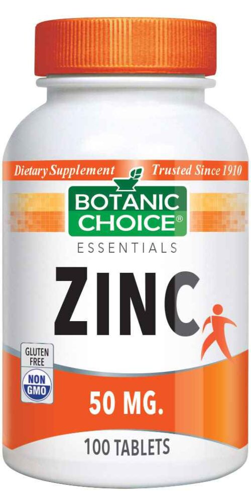 Botanic Choice Zinc 50 mg - Total Health Support Supplement - 100 Tablets