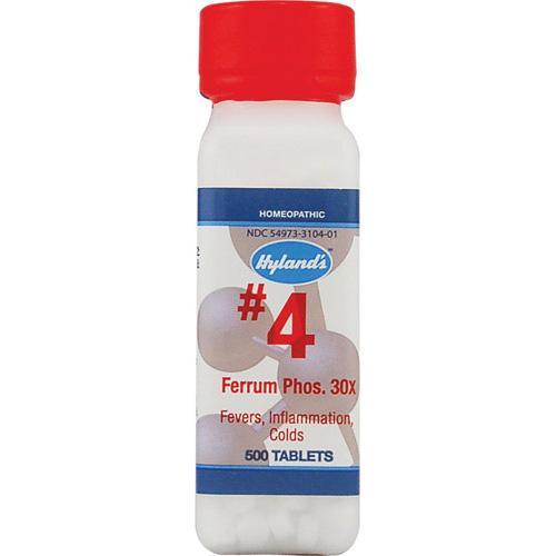 HG0629154 Homeopathic Number 4 Ferrum Phosphoricum 30X - 500 Tablets
