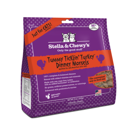 PF 84001202 9 oz Stella & Chewys Freeze Dried Dinner Morsels for Cats Tummy Ticklin Turkey - 6 per Case