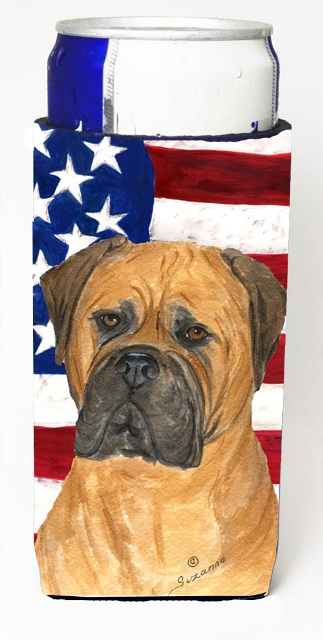 SS4001MUK Usa American Flag With Bullmastiff Michelob Ultra s For Slim Cans - 12 oz.