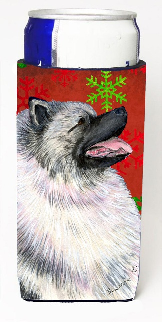 SS4695MUK Keeshond Red And Green Snowflakes Holiday Christmas Michelob Ultra bottle sleeves For Slim Cans - 12 oz.