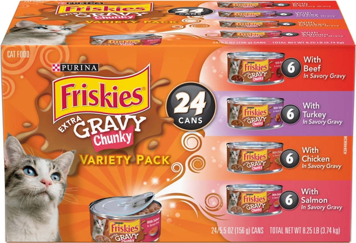 050252 5.5 oz Friskies Extra Gravy Chunky Variety Pack Canned Cat Food - 24 Count