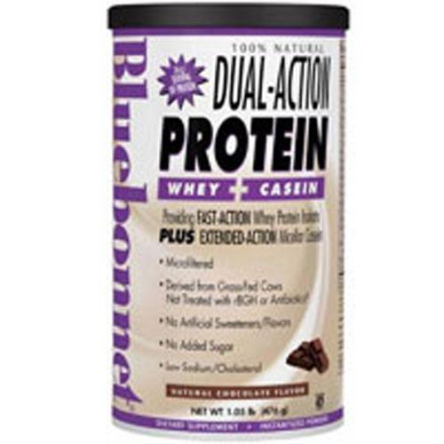 100% Natural Dual Action Protein Powder Natural Chocolate Flavor 2.1 lbs by Bluebonnet Nutrition
